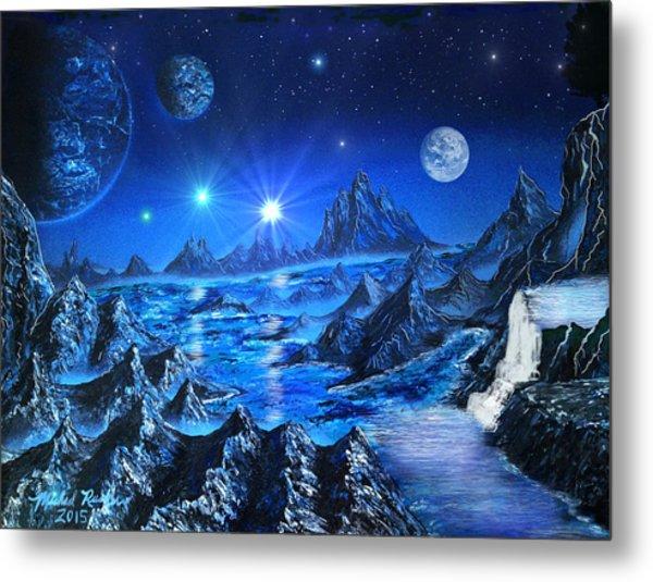 Sapphire Planet Metal Print