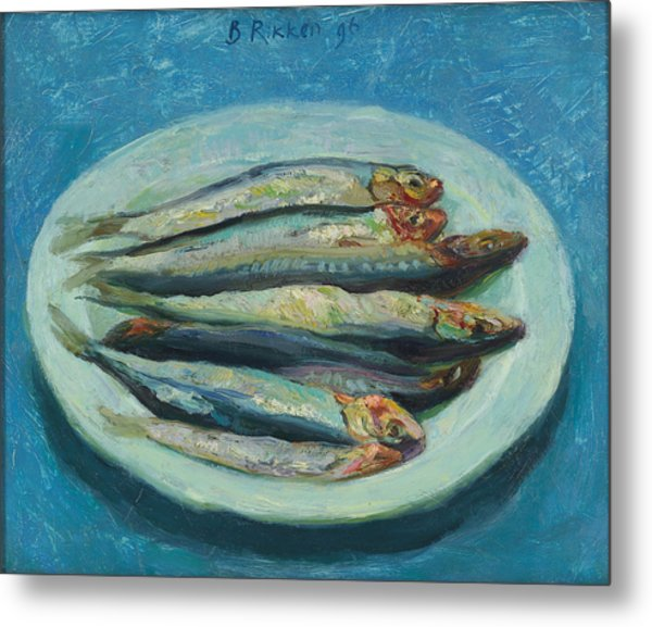 Sardines On A White Plate Metal Print by Ben Rikken