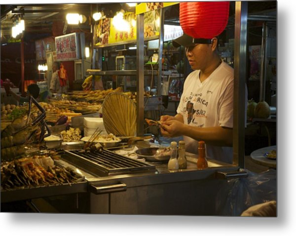 Satay Under Red Metal Print