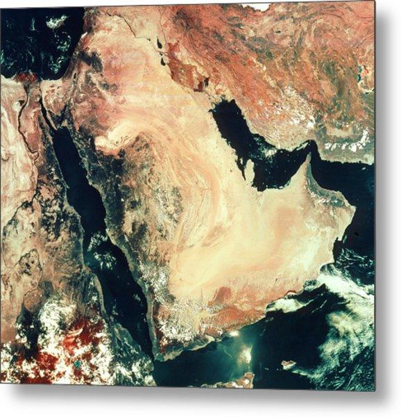 Satellite Image Of The Arabian Peninsula Metal Print