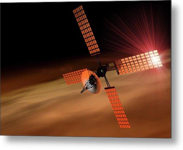 Satellite Orbiting Mars, Artwork Metal Print by Victor Habbick Visions