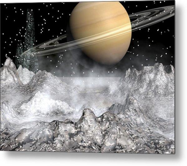 Saturn And Enceladus Metal Print
