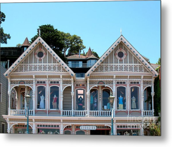 Sausalito Boutique Metal Print by Connie Fox