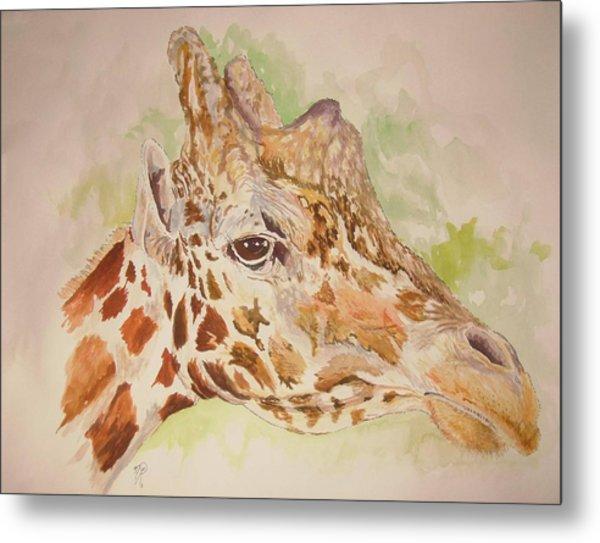 Savanna Giraffe Metal Print