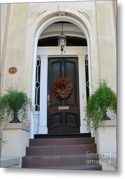 Savannah Georgia Door Architecture - Savannah Victorian Homes Doors  Metal Print