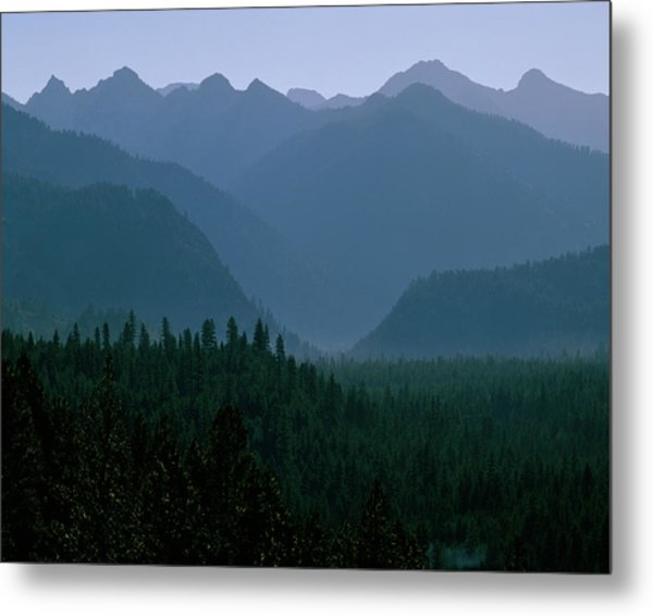 Sawtooth Mountains Silhouette Metal Print