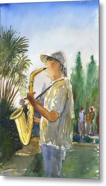 Sax In The Park Metal Print