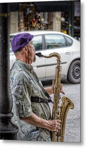 Sax In The Street Metal Print