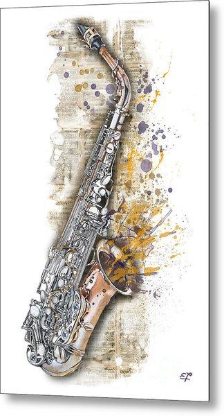 Saxophone 02 - Elena Yakubovich Metal Print