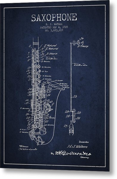 Saxophone Patent Drawing From 1928 Metal Print