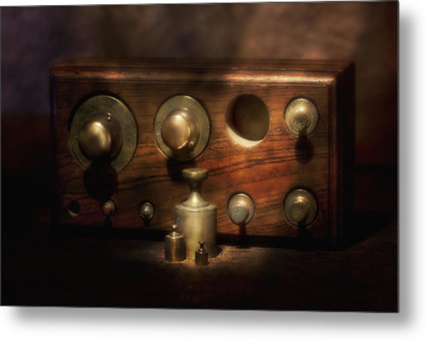 Scale Weights Still Life II Metal Print