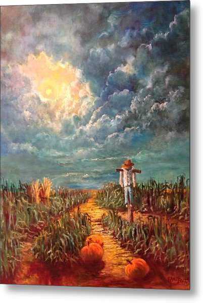 Scarecrow, Moon, Pumpkins And Mystery Metal Print