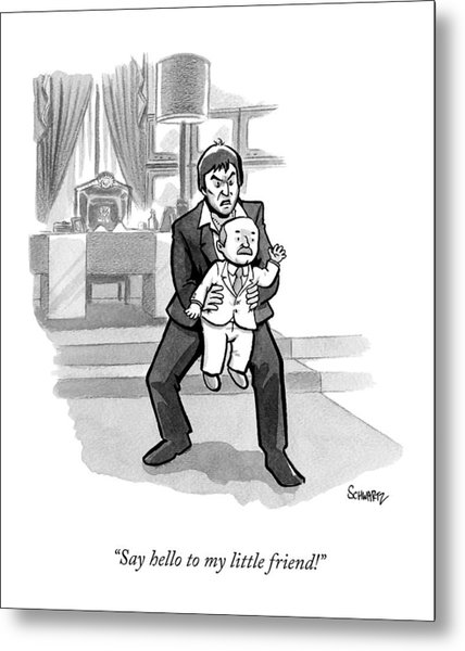 Scarface Holds A Tiny Man In His Hands Metal Print