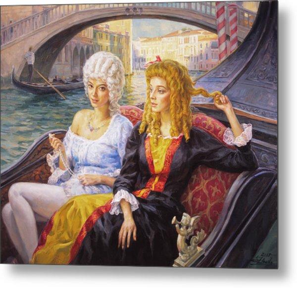 Scene In Gondola. Venice. Metal Print