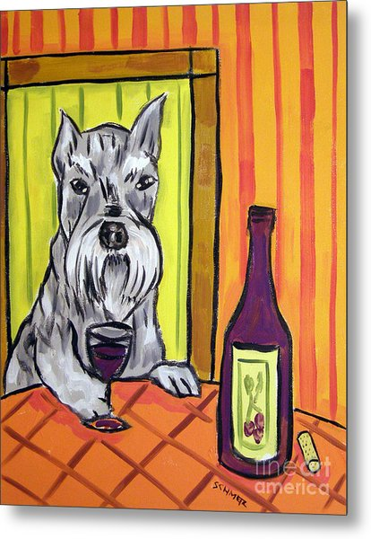 Schnauzer At The Wine Bar Metal Print by Jay  Schmetz