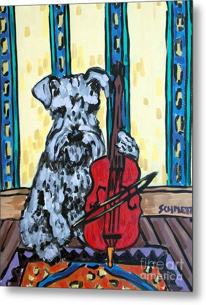 Schnauzer Playing Cello Metal Print by Jay  Schmetz