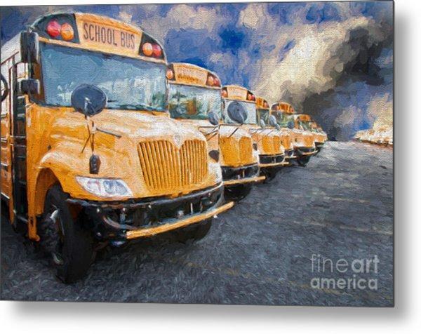 School Bus Lot Painterly Metal Print
