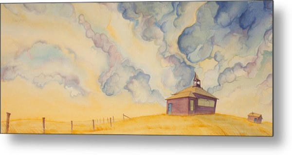 Metal Print featuring the painting School On The Hill by Scott Kirby