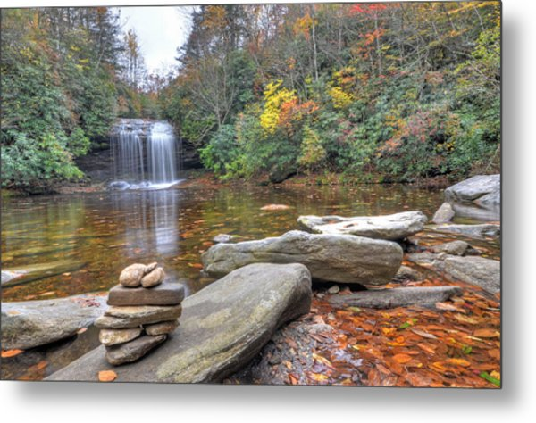 Schoolhouse Falls In Panthertown Valley Metal Print by Mary Anne Baker