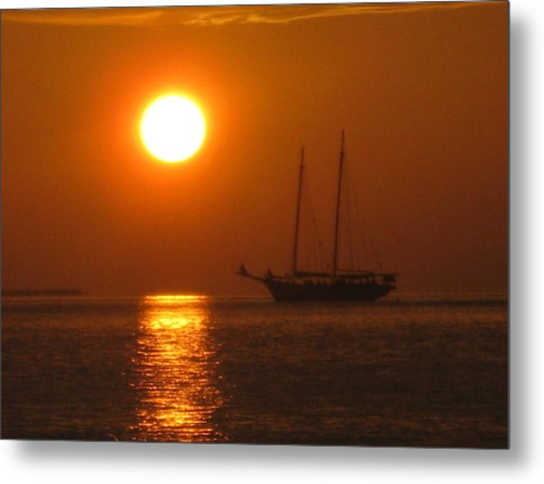 Schooner Sunset Metal Print