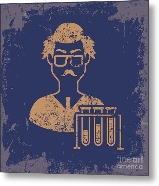 Scientist Design On Old Paper Metal Print