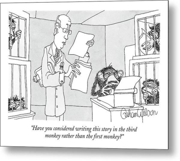 Scientist Talking To Monkey At Typewriter Metal Print