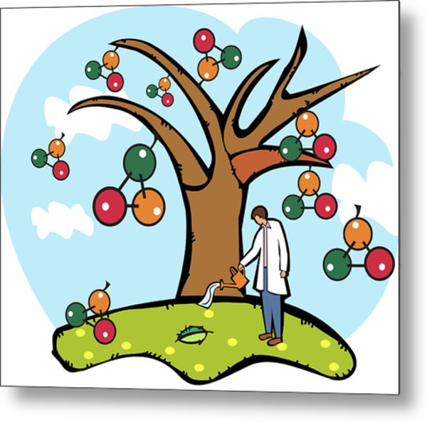Scientist Watering An Atomic Structure Tree Metal Print by Fanatic Studio / Science Photo Library