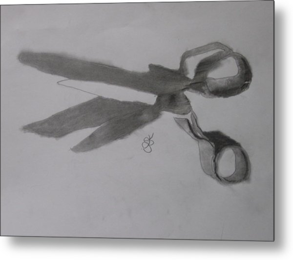 Metal Print featuring the drawing Scissors by AJ Brown