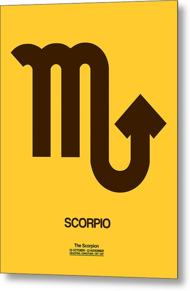 Scorpio Zodiac Sign Brown Metal Print