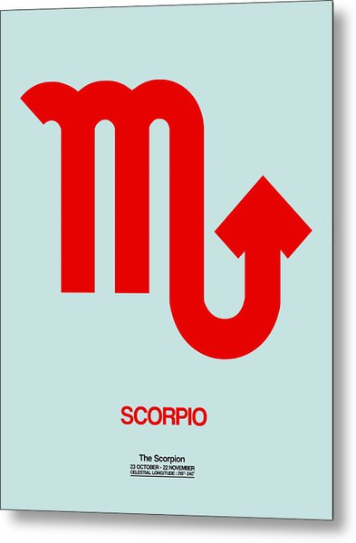 Scorpio Zodiac Sign Red Metal Print