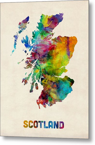 Scotland Watercolor Map Metal Print