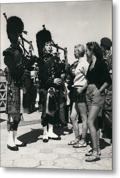 Scots Guards Entertained In Le Tourquet - And Do A Bit Of Metal Print by Retro Images Archive