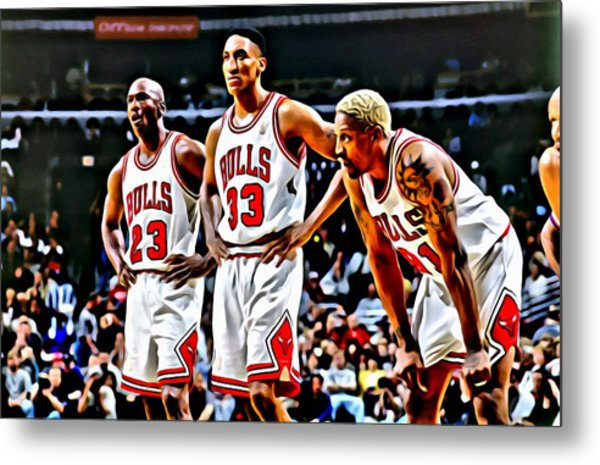 Scottie Pippen With Michael Jordan And Dennis Rodman Metal Print