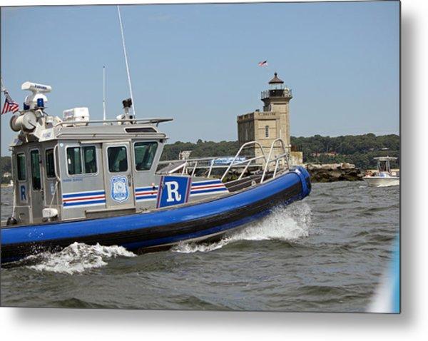 Scpd Boat @ Huntington Lighthouse Metal Print