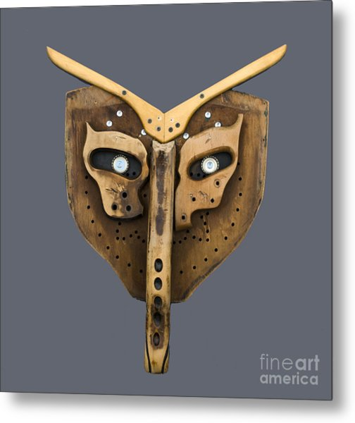 Scrap Wood Mask Metal Print