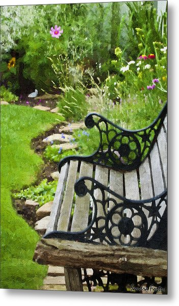 Scroll Bench Garden Scene Digital Artwork Metal Print