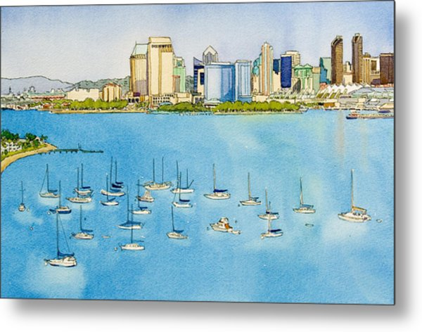 Sd Skyline Pen And Ink Metal Print