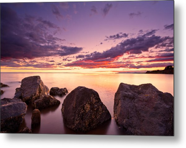 Sea At Sunset The Sky Is In Beautiful Dramatic Color Metal Print