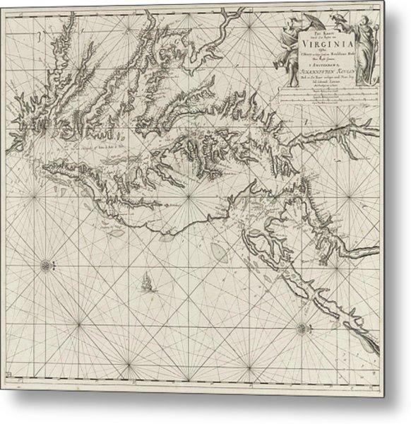 Sea Chart Of Part Of The Coast Of Virginia Metal Print