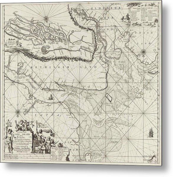 Sea Chart Of Part Of The Elbe, The Weser And Jadebusen Metal Print by Jan Luyken And Johannes Van Keulen I