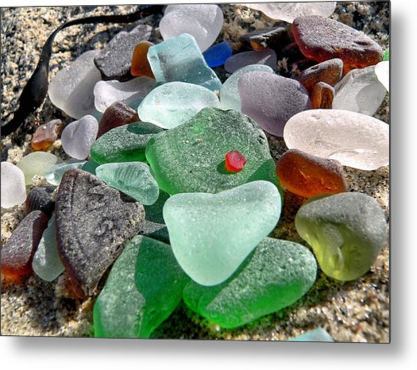Sea Glass In Multicolors Metal Print