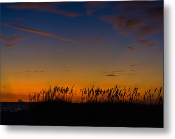 Sea Oats At Twilight Metal Print