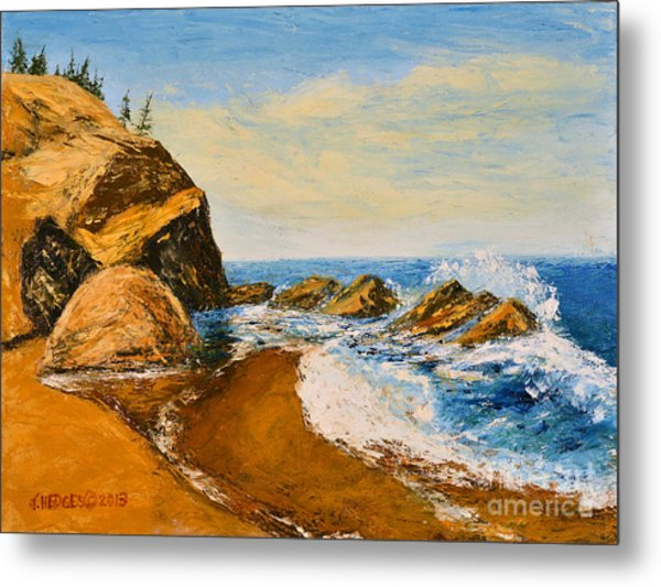 Sea Scape - Trees On Cliff Metal Print