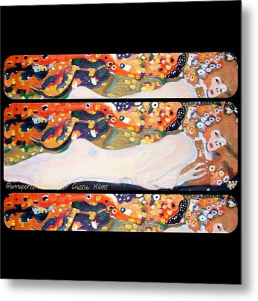 Sea Serpent IIi Tryptic After Gustav Klimt Metal Print