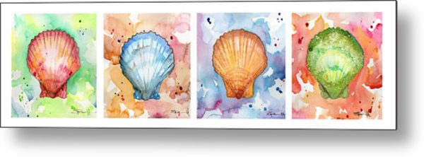 Sea Shells In Contrast Metal Print