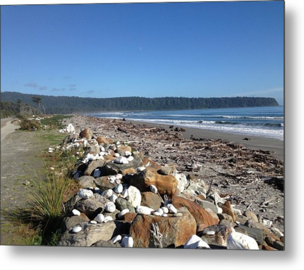 Sea Shore With Rocks Metal Print by Ron Torborg