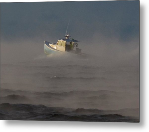 Sea Smoke Lobster Boat Metal Print