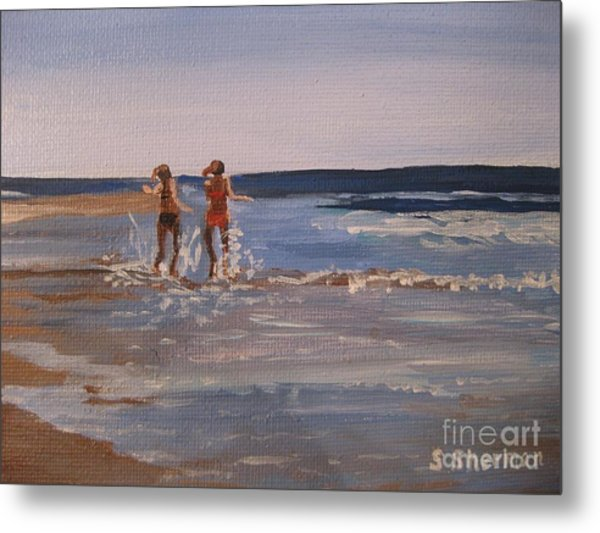 Sea Splashing On The Beach Metal Print