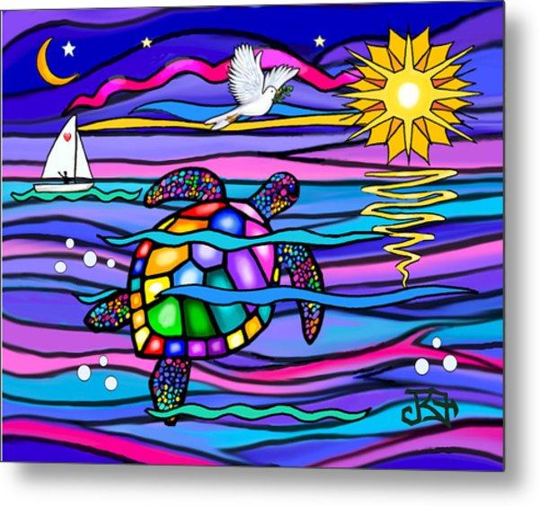 Sea Turle In Blue And Pink Metal Print