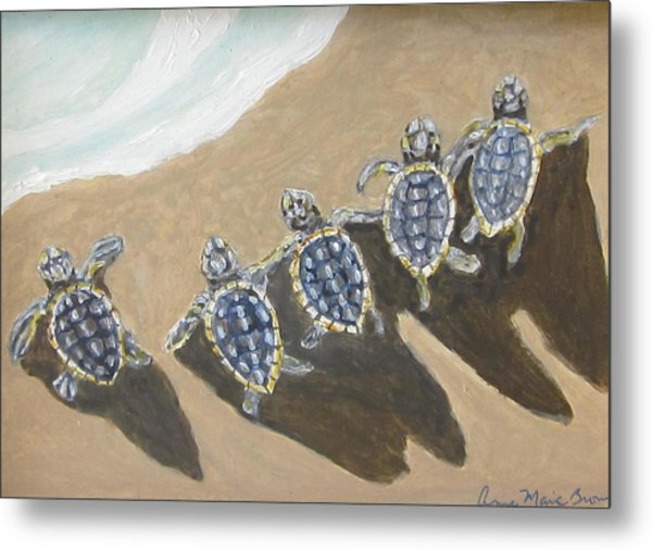 Sea Turtle Babes Metal Print
